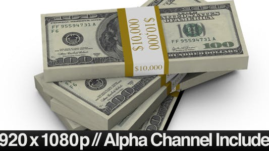 Thumbnail for $100 Bills Fall into a Stack + ALPHA Channel