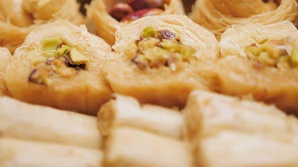 Sweet Food Industry. Tasty Sweet Baklava. Turkish Ramadan Dessert Baklava Presented. Sweet Food