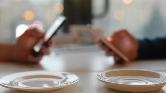 Thumbnail for Internet Addiction. Using Phones While Drinking Cup of Coffee