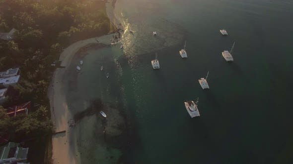 Thumbnail for Flying Over Mauritius Coast at Sunset
