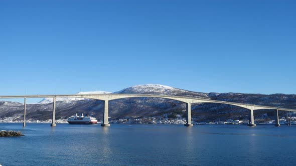 Thumbnail for Cruise Service Vessel Hurtigruten Under The Finnsnes Bridge Troms 3