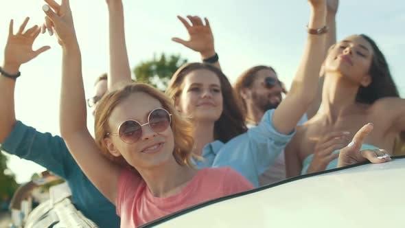 Summer Travel. Friends Having Fun, Traveling In Open Car.
