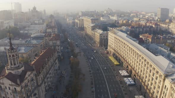 Thumbnail for Fly Over Khreshchatyk at Foggy Weather. The Capital of Ukraine. Center of Kyiv Khreshchatyk Street