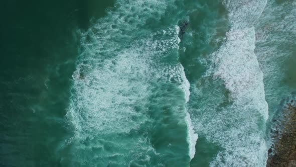 Thumbnail for Aerial Top View on Ocean Waves on Portugal Coast