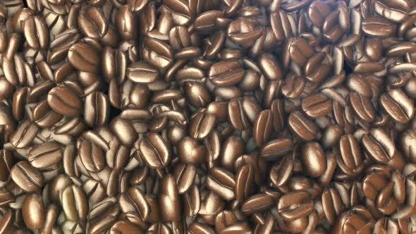 A beautiful background of coffee beans. 3D animation of coffee beans view from above