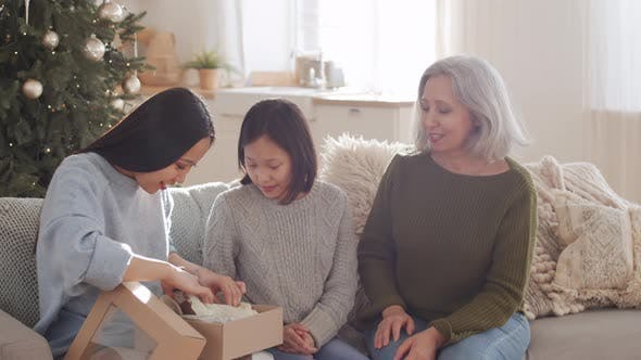 Thumbnail for Happy Asian Woman Getting Christmas Present and Hugging Family