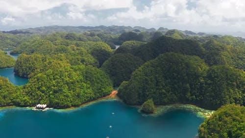 Tropical Sea Bay and Lagoon, Beach in Bucas Grande Island, Sohoton Cove, Philippines. Tropical