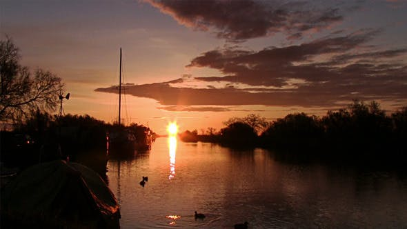 Sunrise On The River, Tranquil Scene