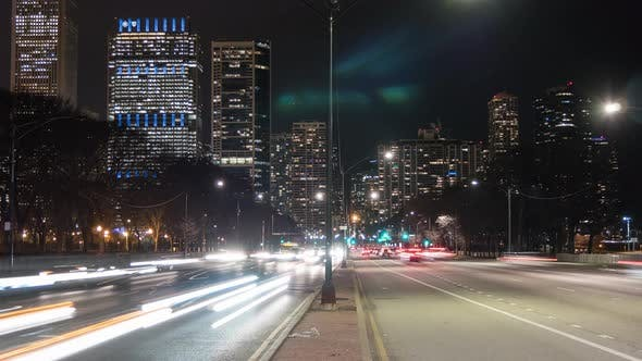 Thumbnail for Night traffic timelaspse in Chicago