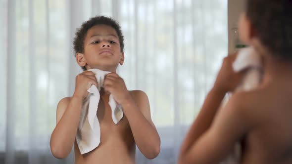 Thumbnail for Smiling Afro-American Kid Doing Morning Hygiene, Healthy Lifestyle, Happy Child