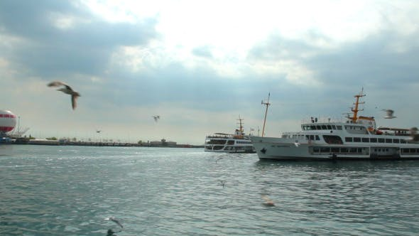 Thumbnail for Ferries  Passing By in Bosphorus