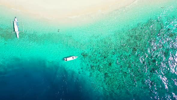 Thumbnail for Luxury aerial copy space shot of a paradise sunny white sand beach and blue sea background in colour