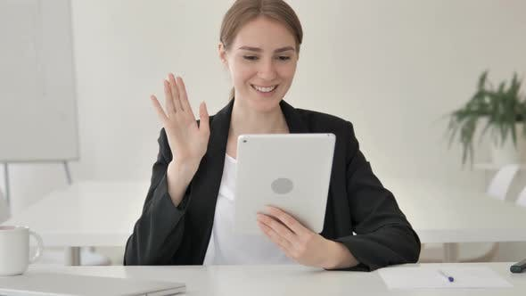 Thumbnail for Online Video Chat on Tablet by Young Businesswoman