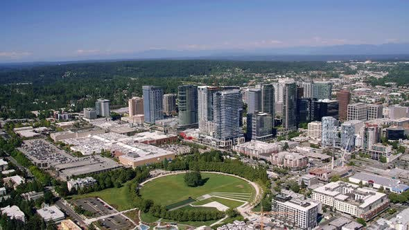 Thumbnail for Bellevue Washington Downtown City Helicopter Aerial