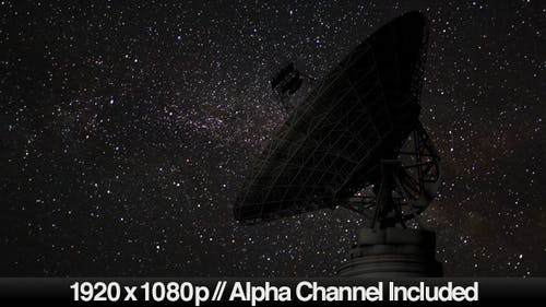Satellite Dish Time Lapse on Night Sky Stars