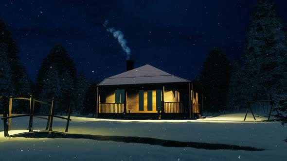 Thumbnail for Snow Falling On a Wooden Cabin