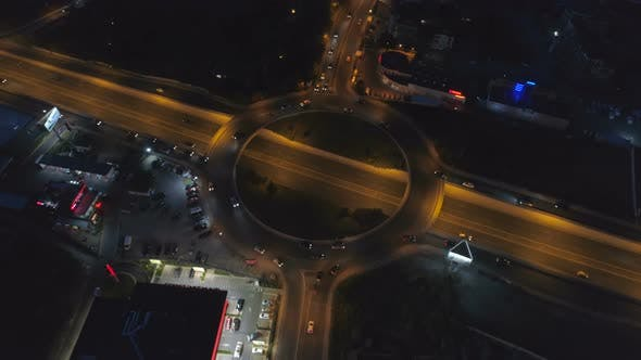 Thumbnail for Aerial Top View Traffic Roundabout Road in City at Night