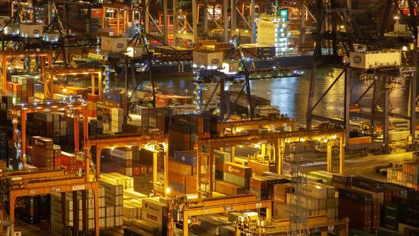 Thumbnail for HONG KONG/CHINA - JUNE 10 2019: Hong Kong Container Port Terminal and Logistics Center Timelapse at