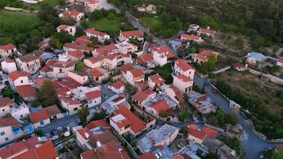 Overhead Rooftops Traditional Authentic Mountain Village in Cyprus
