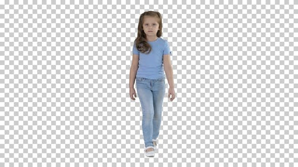 Thumbnail for Little girl in jeans and blue t-shirt walking, Alpha Channel