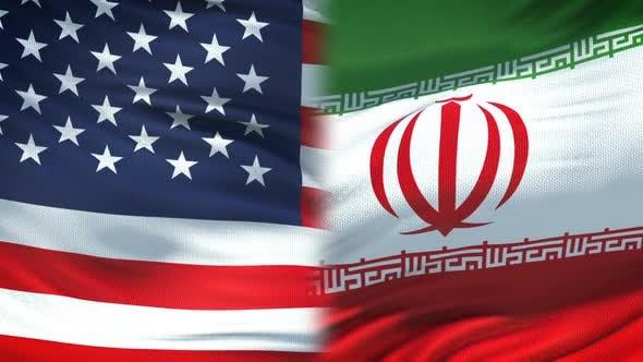 Thumbnail for United States and Iran Handshake, International Friendship, Flag Background