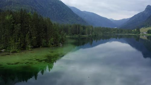 Aerial View of Calm Hintersee Lake