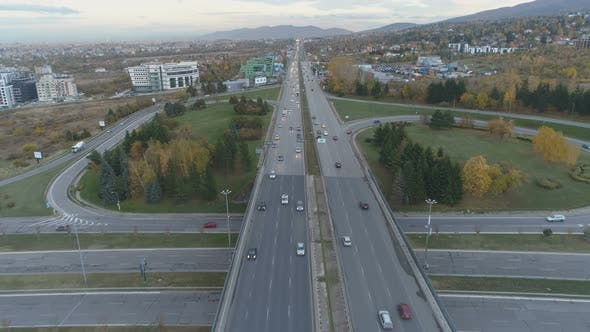 Thumbnail for Aerial View of City Traffic at Rush Hour in Boyana, Sofia