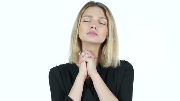 Cover Image for Young Woman Praying , Asking Forgiveness, White Background