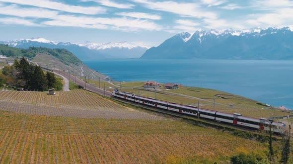 Thumbnail for Schweizer Zug bewegt sich entlang einer malerischen Eisenbahn auf einem Hügel nahe dem Genfersee gegen die Alpen. Schweiz