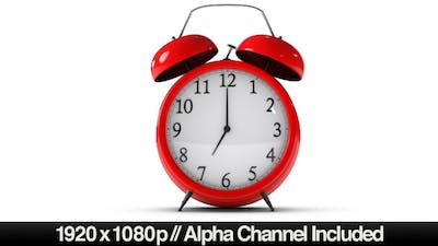 Classic Red Alarm Clock Ringing With Alpha Channel