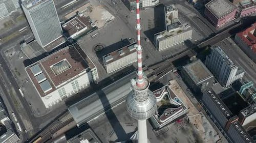 AERIAL: Slow Flight Over Small Bridge Over Spree in Berlin, Germany with View on Alexanderplatz TV
