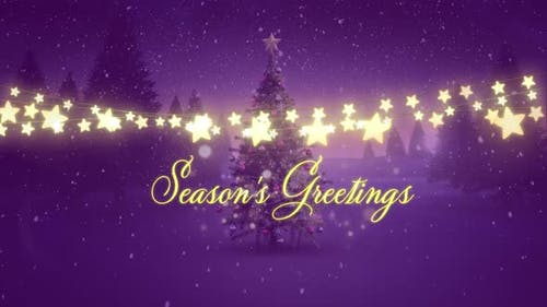 Seasons Greetings with glowing fairy lights