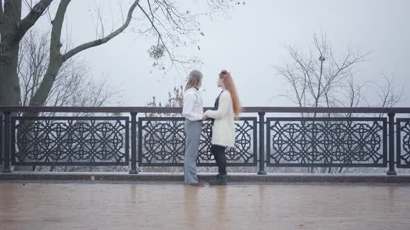 Thumbnail for Wide Shot of Young Caucasian Couple Standing Face To Face at the Bridge and Talking