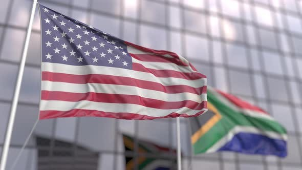 Flying Flags of the United States and South Africa