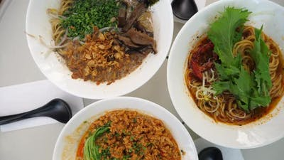 Top Shot of Three Types of Vegan Ramen Soups. Healthy Organic Vegan Lifestyle