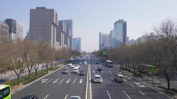 Thumbnail for Central Business District in Beijing, China at Clear Day. Skyscrapers and Car Traffic on Highway
