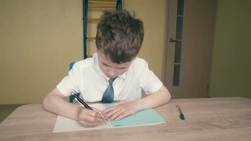 Schoolboy Does Homework Writes a Pen in a Notebook