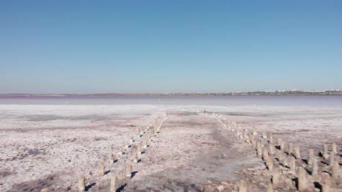 Salty sands of littoral zone on Kuyalnik Liman, Odessa Oblast, Ukraine