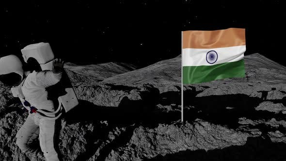 Astronaut Planting India Flag on the Moon