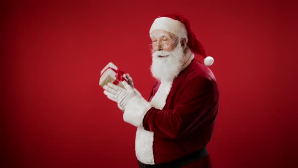 Thumbnail for Portrait of Santa Claus Holding Present in Hands