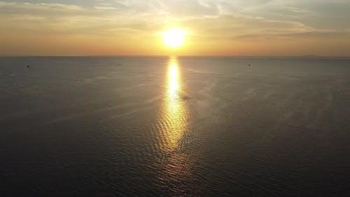 Sun light over sea sky