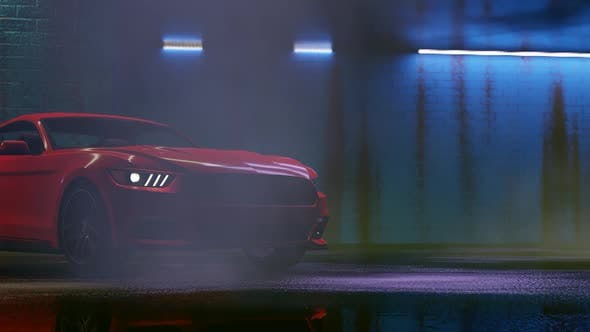 Thumbnail for Luxury Sports Red Car Drift at Night Parking Lot