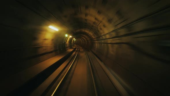 Thumbnail for Ride in a Subway Car Without a Driver - View From the First Car To the Tunnel