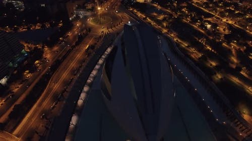 City of Arts and Sciences, night aerial view in Valencia