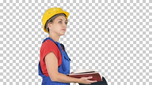 Woman Construction Worker in Hard Hat and Workwear Uniform
