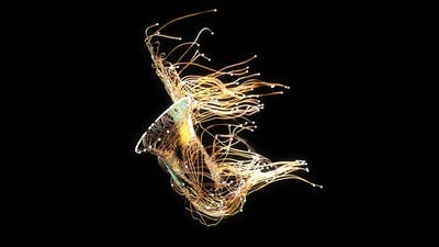 3D abstract art of a saxophone