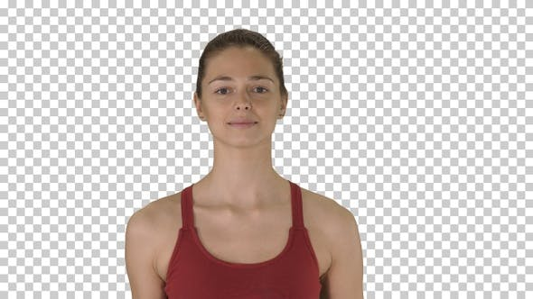 Thumbnail for Young Woman Doing Yoga Breathing Exercises, Alpha Channel
