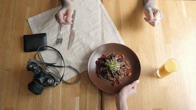 Chocolate Porridge with Banana in White Bowl Decorated Movies Breakfast