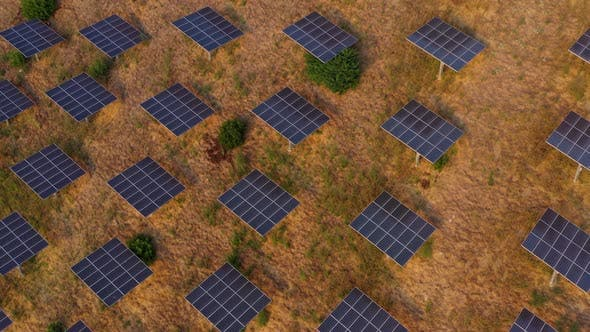 Thumbnail for Aerial shot of a hillside in Southern California covered with solar panels