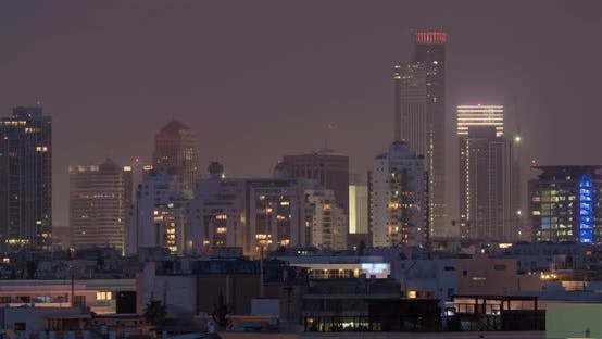 Thumbnail for Timelapse of Night Coming To Tel Aviv, Israel